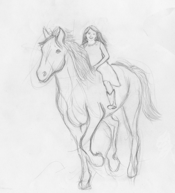 girl on horse, horse art