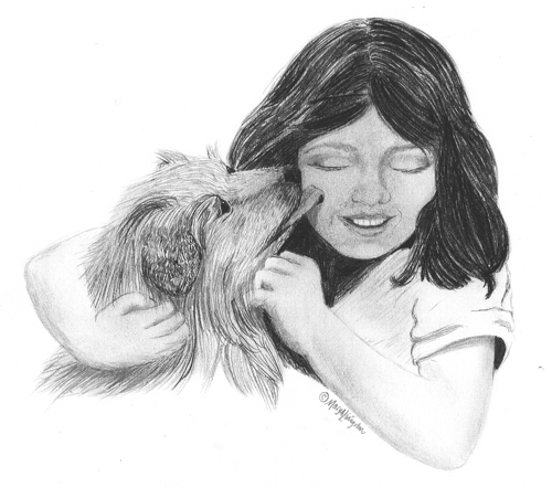 Friends Girl with her dog