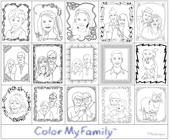 The 2014 installment for family coloring pages for my grandchildren, Color My Family,™ includes the family pets. Fun, fun, fun, bliss.