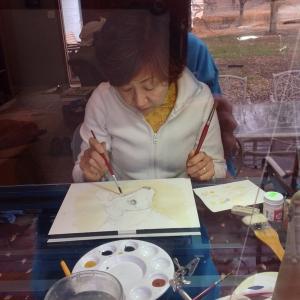 Noriko at my desk, exploring watercolor. A beautiful friend and artist.