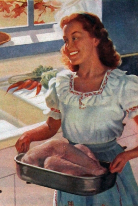 Turkey dinner prep circa 1946 in American Standard advertisement.