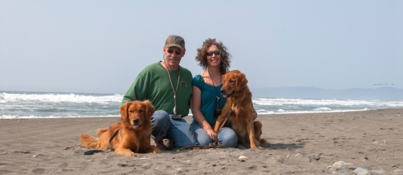 On the beach near Smith River. CA. L-R: Kinta, Tim, Mary, Sailor
