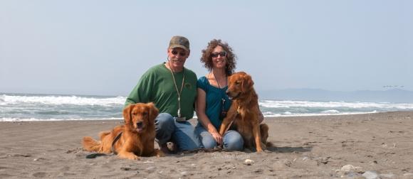 On the beach near Smith River. CA. L-R: Kinta, Tim, Mary, Sailor